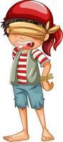 un garçon pirate avec un personnage de dessin animé aux yeux bandés isolé vecteur