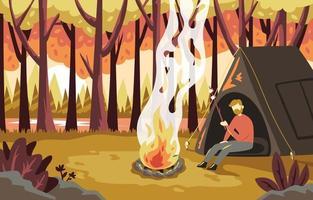 paysage de camping en automne vecteur