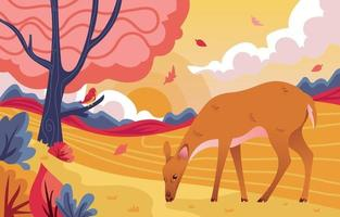 paysage de la flore et de la faune en automne vecteur
