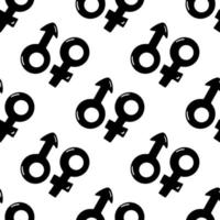 modèle sans couture fabriqué à partir de symboles masculins et féminins doodle vecteur