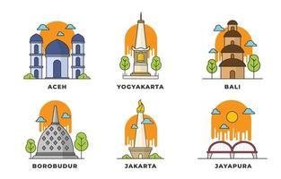 icônes de point de repère indonésien vecteur