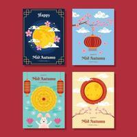 ensemble de carte de joyeux festival de mi-automne vecteur