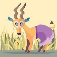 impala portant une jupe violette avec de l'herbe et des roseaux derrière vecteur