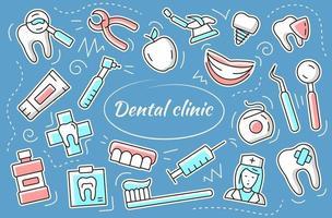 clinique dentaire - jeu d'autocollants. éléments vectoriels et objets dentaires. vecteur
