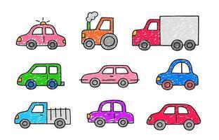 voitures mignonnes dessinées à la main. ensemble d'icônes de transport dans le style de croquis de doodle. vecteur