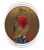 vecteur, faucon, illustration, conception, siège, sur, les, pierre vecteur