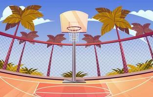 fond de terrain de basket en plein air vecteur