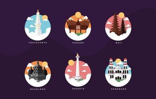 indonésie, repère, ensemble, plat, icône vecteur