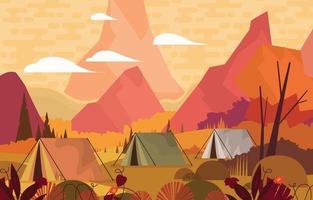 terrain de camping avec concept vue montagne vecteur