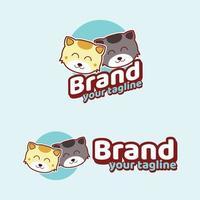 chat mignon logo de la marque mascottes modernes vecteur
