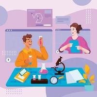 deux étudiants discutent virtuellement d'un projet de chimie vecteur
