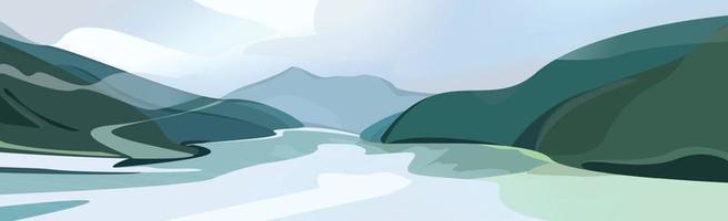 paysage de montagne, rochers et rivière qui coule au loin vecteur