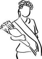 fille avec couronne de fleurs et écharpe tenant vecteur de bouquet