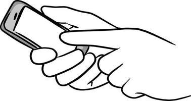 main d'homme d'affaires appuyant sur l'écran du téléphone portable vecteur