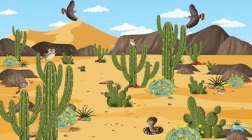 forêt désertique à la scène de jour avec des animaux et des plantes du désert vecteur