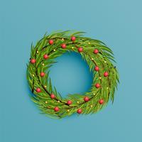 Couronne réaliste avec ruban d'or pour Noël, illustration vectorielle vecteur
