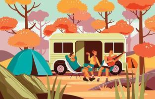 profiter du camping d'automne avec des amis vecteur