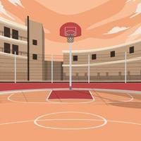 terrain de basket extérieur vecteur