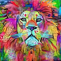 audacieux comme un portrait de lion vecteur