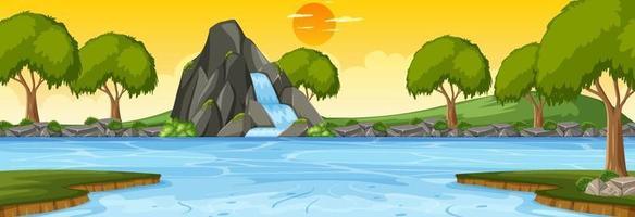 scène horizontale de la forêt au coucher du soleil avec cascade vecteur