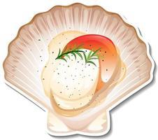 autocollant de fruits de mer pétoncles sur fond blanc vecteur