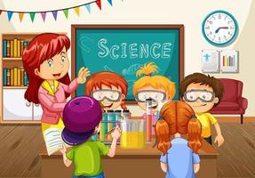 enseignant expliquant l'expérience scientifique aux élèves de la classe vecteur
