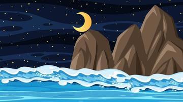 paysage de plage à la scène de nuit avec vague de l & # 39; océan vecteur