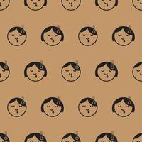 icône d'enfant de virus de la grippe de modèle sans couture avec le fond brun clair vecteur