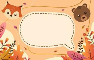 mignon animal d'automne dan floral salutation vecteur
