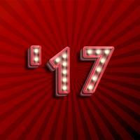 Texte 3D '17 pour le nouvel an avec des ampoules rougeoyantes, illustration vectorielle