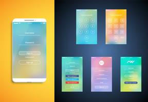 Interface utilisateur simple et colorée définie pour les smartphones - Écran de connexion, illustration vectorielle
