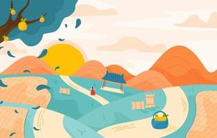 vue paysage dans le village de corée vecteur
