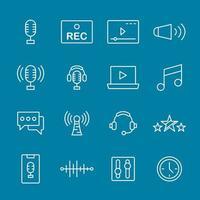 outils de podcast de pack d'icônes vecteur