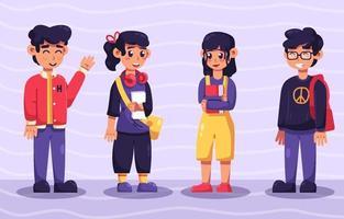 collections de personnages de lycée vecteur