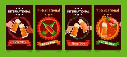 jeu de cartes de la journée internationale de la bière vecteur