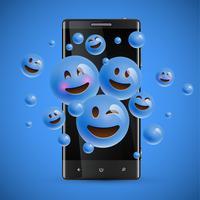 Émoticônes 3D et différentes sortes d'émoticônes avec smartphone mat, illustration vectorielle