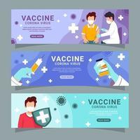collection de bannières de vaccin covid 19 vecteur