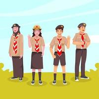 étudiants avec uniforme pramuka vecteur