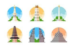 icône de point de repère indonésien vecteur