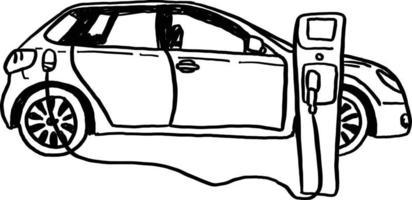 voiture électrique illustration vectorielle croquis dessinés à la main vecteur