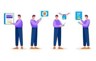personnages de technologie sans contact vecteur