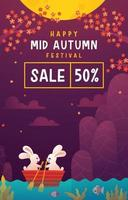 illustration de l'affiche de la vente du festival de la mi automne vecteur