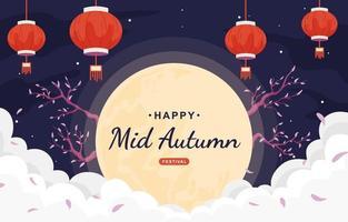 festival de la mi-automne avec lune et lanterne vecteur