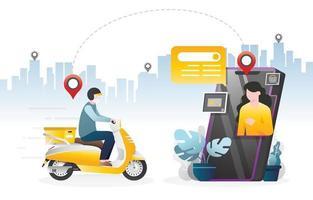 réviser - commerce électronique de caractère de livraison en ligne avec application mobile vecteur