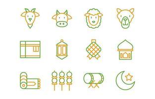 jeu d'icônes eid adha vecteur