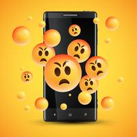 Émoticônes jaunes heureux réalistes devant un téléphone portable, illustration vectorielle