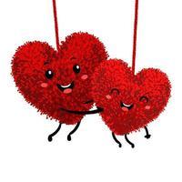 illustration de peluche en forme de coeur embrasser et tomber amoureux vecteur