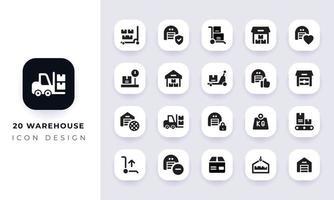 pack d'icônes d'entrepôt plat minimal. vecteur