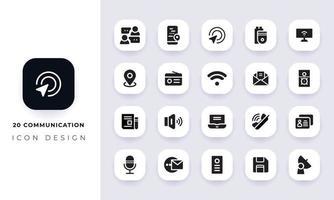 pack d'icônes de communication plat minimal. vecteur