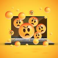 Émoticônes très détaillées sur un écran d'ordinateur portable, illustration vectorielle